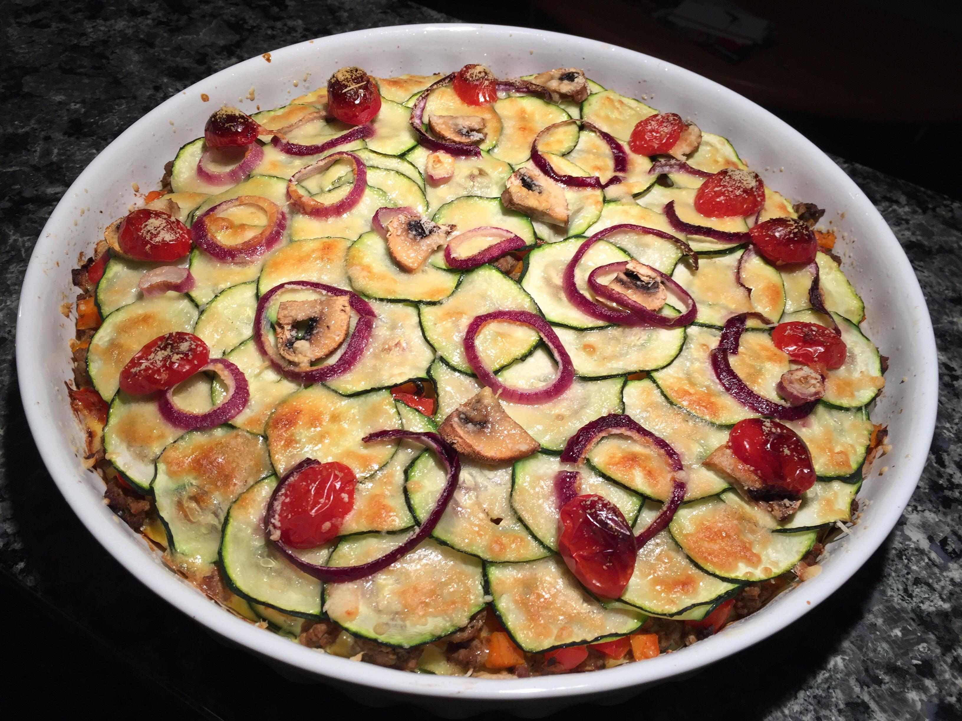 Zucchini-Hackfleisch-Pie (ohne Boden)