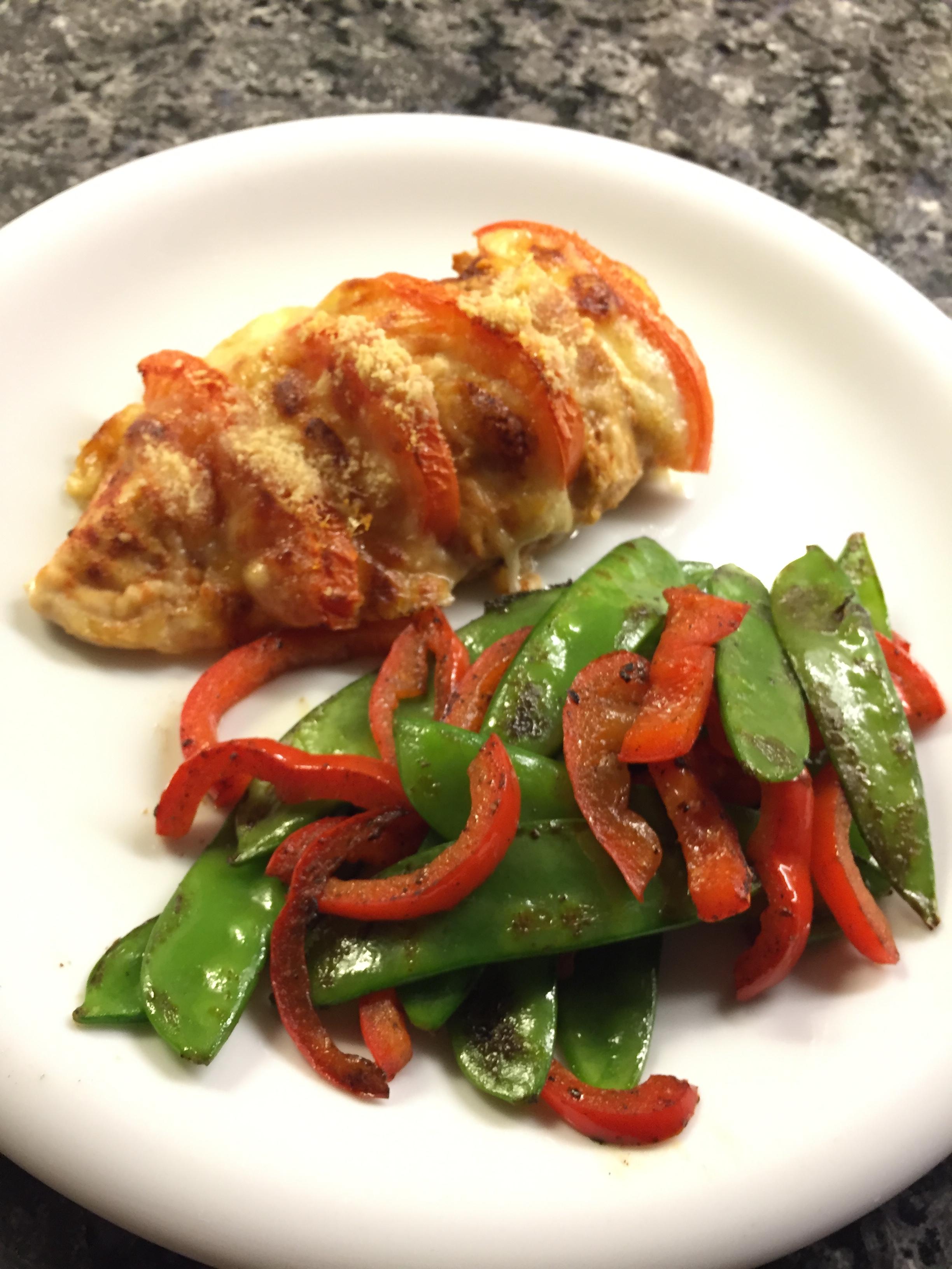 Poulet-Tomate-Mozzarella-Gratin