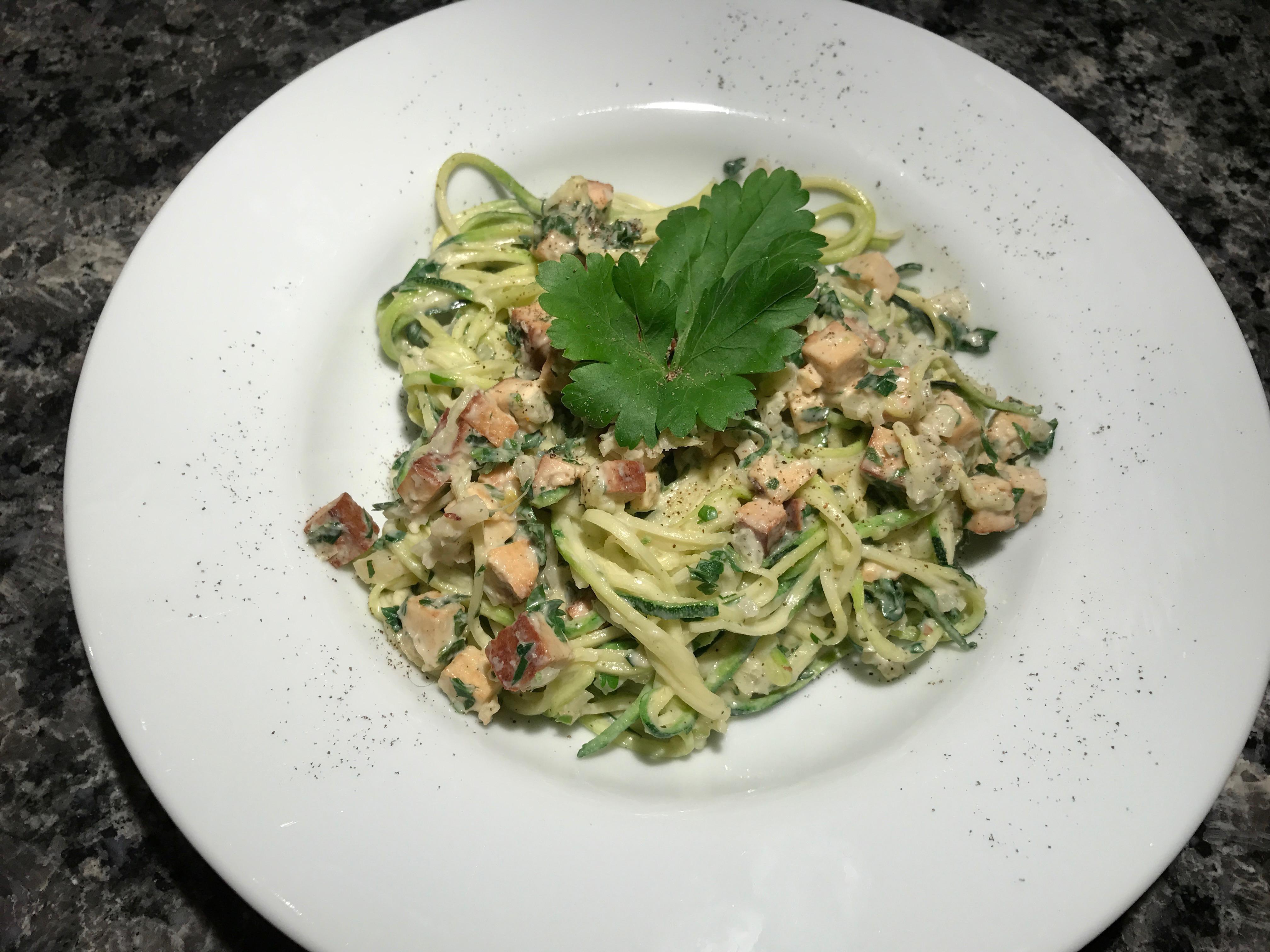 Zucchini-Spaghetti alla Carbonara