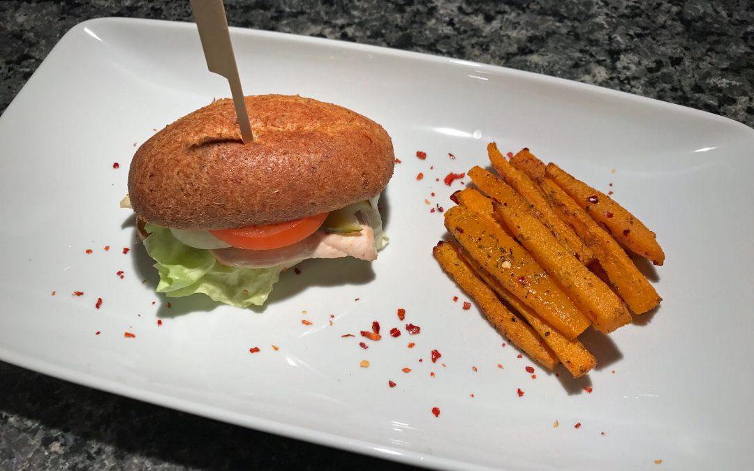 Poulet-Käse Sandwich Low Carb